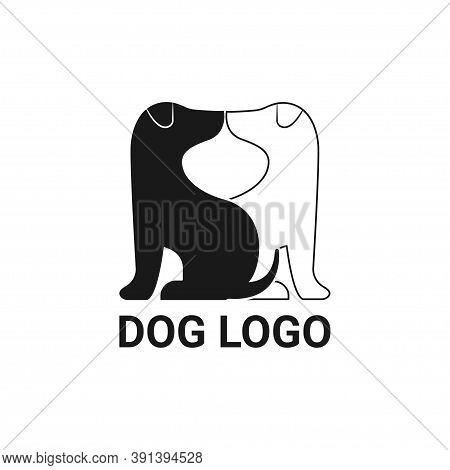 Dog Logo Vector Icon Line Art Outline Design