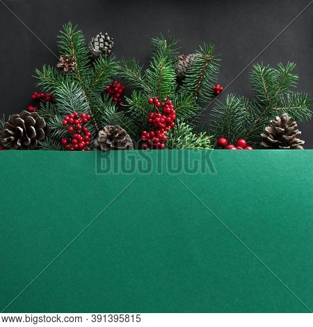 Christmas Composition. Christmas Tree Branches And Cones On Multilayer Green And Black Background. T