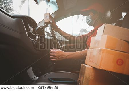 New Normal Express-delivery Services Courier Wearing Medical Mask For Safety Protection From Virus I