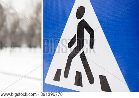 Road Sign Pedestrian. Pedestrian Transit Traffic Sign. Pedestrian Crossing, Road Sign. Blue Metallic