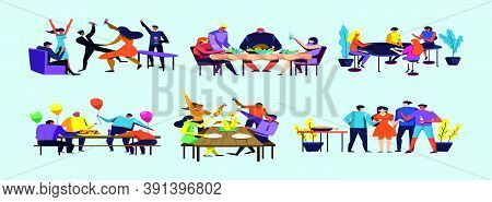 Set Of Party And Gathering Cartoon Icon Design Template With Various Models. Vector Illustration Iso