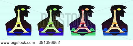 Set Of Eiffel Tower With Silhouettes Cartoon Icon Design Template With Various Models. Vector Illust