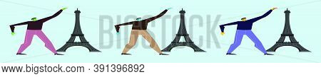 Set Of Man At The Eiffel Tower Cartoon Icon Design Template With Various Models. Vector Illustration