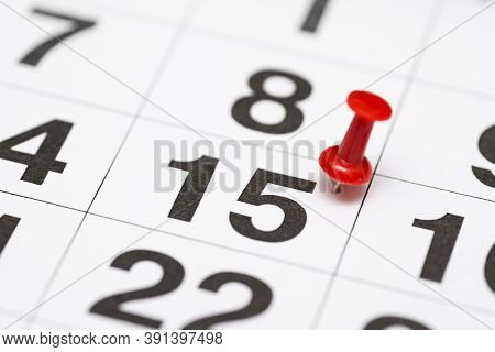 Pin On The Date Number 15. The Fifteenth Day Of The Month Is Marked With A Red Thumbtack. Pin On Cal