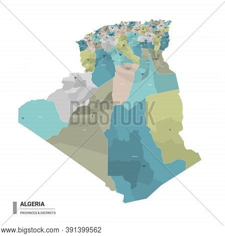 Algeria Higt Detailed Map With Subdivisions. Administrative Map Of Algeria With Districts And Cities