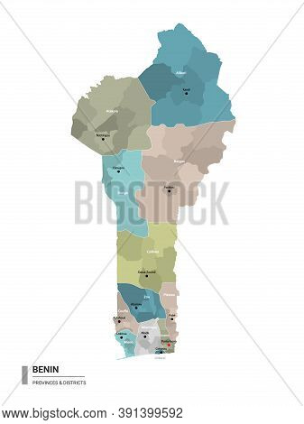 Benin Higt Detailed Map With Subdivisions. Administrative Map Of Benin With Districts And Cities Nam