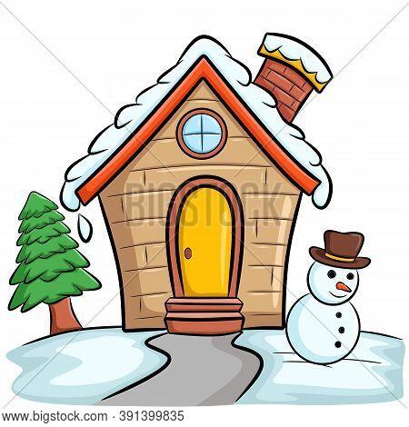 Snowy Frozen Little House Christmas New Year Holiday Cartoon Illustration