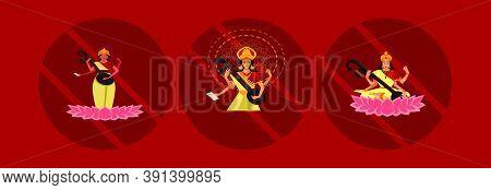 Illustration Of Goddess Of Wisdom Saraswati For Vasant Panchami India Festival. Cartoon Icon Design