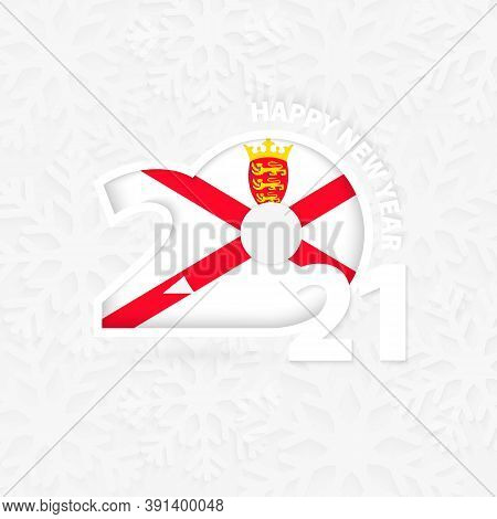 Happy New Year 2021 For Jersey On Snowflake Background. Greeting Jersey With New 2021 Year.
