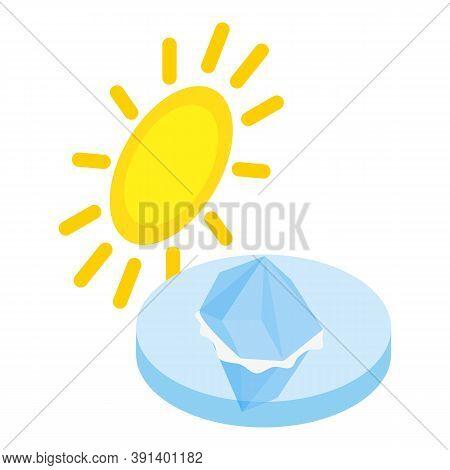 Melting Iceberg Icon. Isometric Illustration Of Melting Iceberg Vector Icon For Web