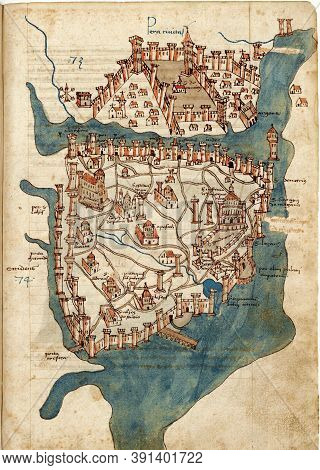 Ancient Map Of Constantinople City From Rare Book By Cristoforo Buondelmonti Printed In 1475. Old Pa