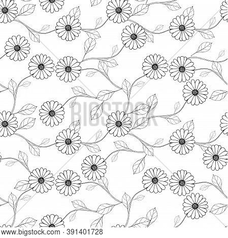 Outline Flower Leaves On White Seamless Background. Botanical Endless Pattern For Fabric Print, For