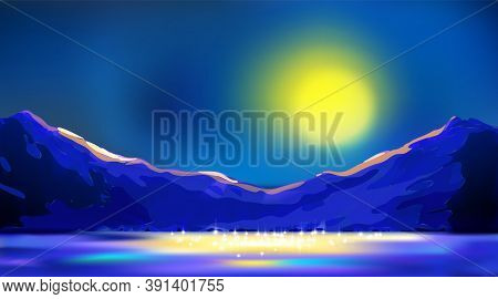 Night Art Background, Twilight Mountains Landscape In Blue Tones. Moonlight Among Peaks Reflected In