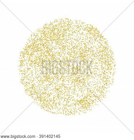 Circle, Round Backdrop Golden Texture Crumbs. Gold Dust Scattering On A White Background. Particles