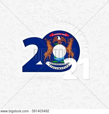 Happy New Year 2021 For Michigan On Snowflake Background. Greeting Michigan With New 2021 Year.