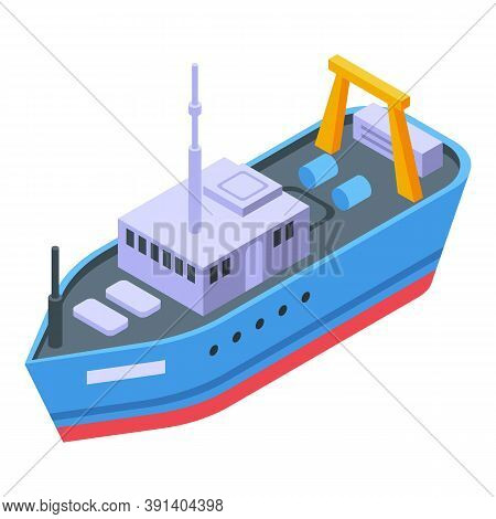Marine Fishing Ship Icon. Isometric Of Marine Fishing Ship Vector Icon For Web Design Isolated On Wh