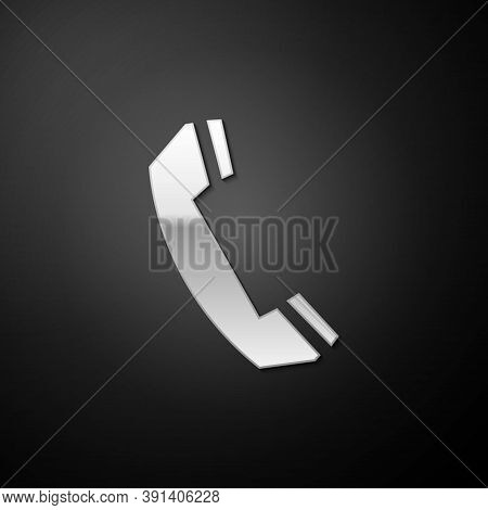 Silver Telephone Handset Icon Isolated On Black Background. Phone Sign. Call Support Center Symbol.