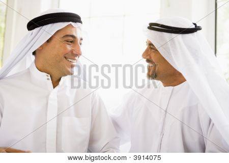 Middle Eastern Men At Home Chatting