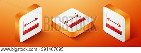 Isometric The Measuring Height And Length Icon Isolated On Orange Background. Ruler, Straightedge, S