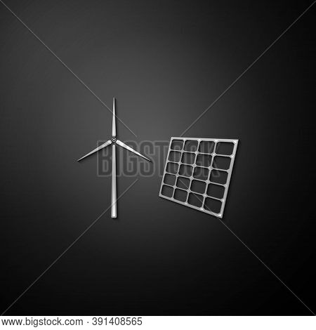 Silver Wind Mill Turbines Generating Electricity And Solar Panel Icon Isolated On Black Background.