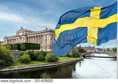 The Building Of The Swedish Parliament (riksdag) And The Riksbank Bridge Over The Lilla Vartan Strai