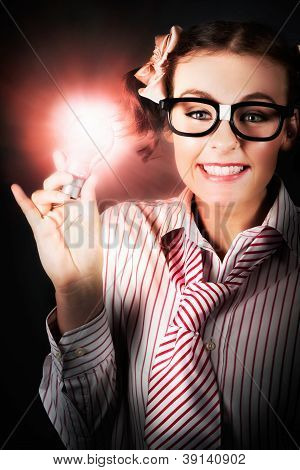 Smart Business Person Holding Light Bulb In Hand