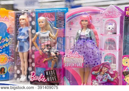 Tyumen, Russia-october 11, 2020: Barbie Toys For Girls On Supermarket Stand. Barbie Is A Fashion Dol