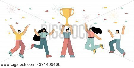 Team Victory Concept, Victory Concept With Characters. The Man Is Holding A Cup And Celebrating With
