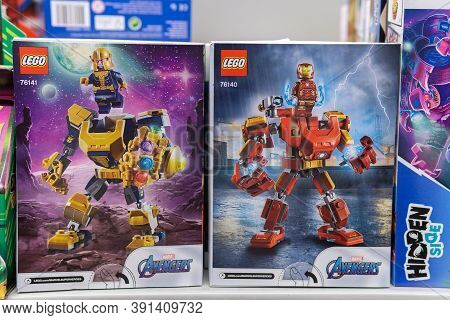 Tyumen, Russia-october 11, 2020: Marvel Avengers Lego Is A Line Of Plastic Construction Toys That Ar
