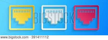 Paper Cut Network Port - Cable Socket Icon Isolated On Blue Background. Lan Port Icon. Ethernet Simp