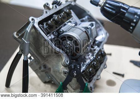 Part Of The Automotive Transmission Mechatronic For Dsg At Shallow Depth Of Field