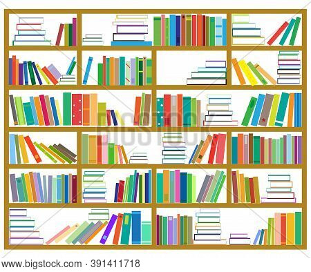 Bookshelf. Collection Of Various Bindings. Signs And Symbols. Vector Illustration.