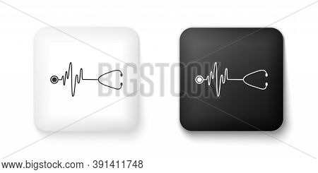 Black And White Stethoscope With A Heart Beat Icon Isolated On White Background. Medical Concept. Pu