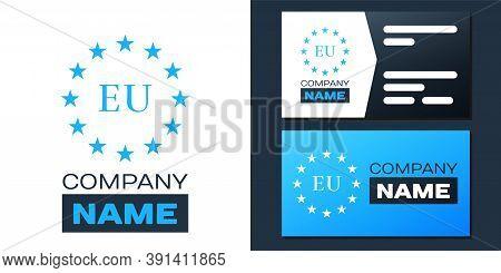 Logotype Flag Of European Union Icon Isolated On White Background. Eu Circle Symbol. Waving Eu Flag.