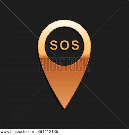 Gold Marker Location With Sos Icon Isolated On Black Background. Sos Call Location Marker. Map Point