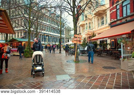 16 December 2019, Ghent, Belgium. People With Families Attend Christmas Market.
