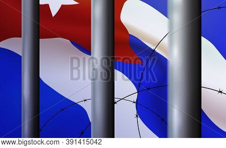 Background Prison, Jail In Republic Of Cuba. Oppressive, Repressive Penal System Of Detention, Impri