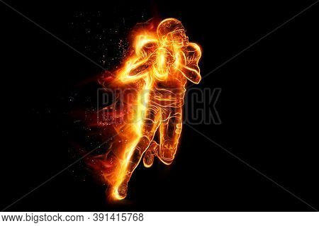 Silhouette Of American Football Player, Player In Action On Fire. Isolated On Black Background. Conc