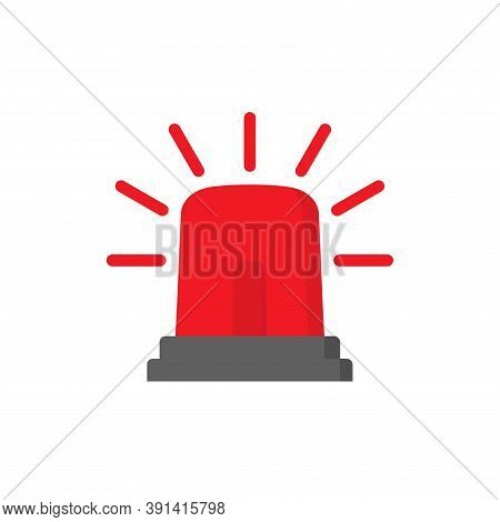 Emergency Siren Icon In Flat Style Isolated On White Background. Police Alarm Vector Illustration On