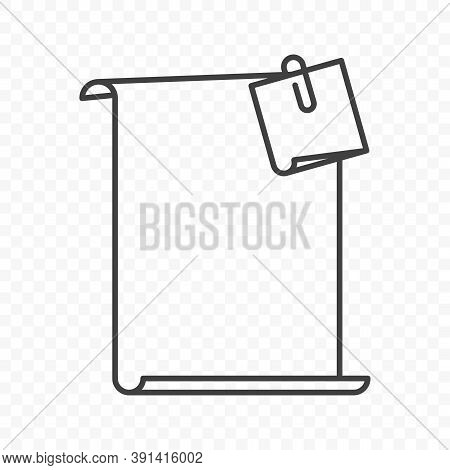 Icon Blank Sheet Of Paper With A Sticker Attached Thereto Using Staples. Simple Linear Image On Tran