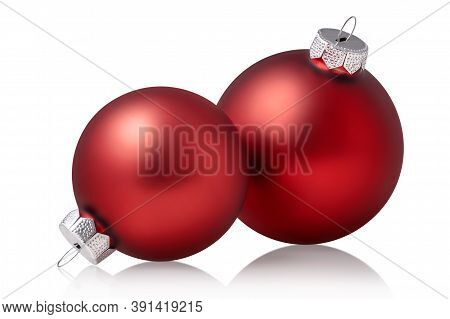Two Red Christmas Baubles Isolated Over White Background. Holiday Ornament, Winter Decoration. Clipp
