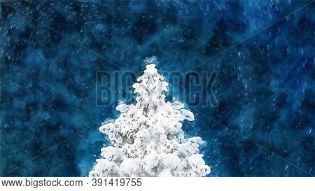 Watercolor Christmas Tree In The Forest. Christmas Tree At Night In The Forest, Snowfall. Christmas