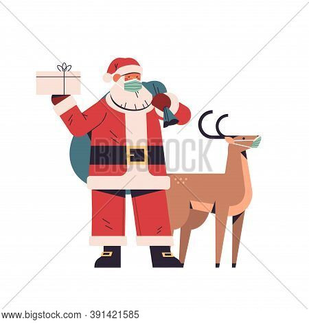 Santa Claus With Reindeer In Protective Masks Standing Together Happy New Year Merry Christmas Holid