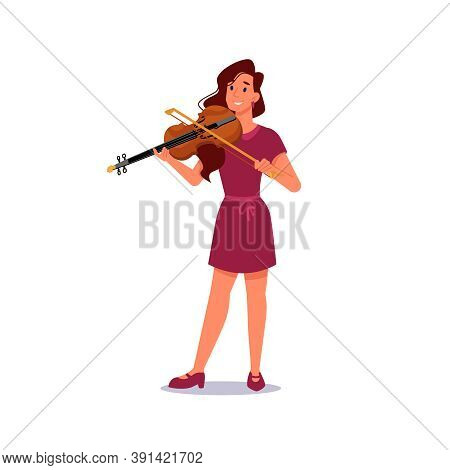 Girl Playing Violin Isolated Musician In Flat-cartoon. Vector Violinist Plays On String Music Instru