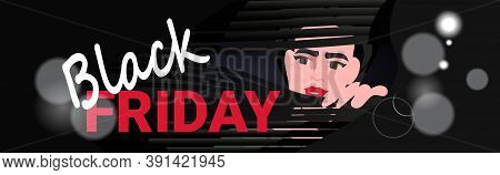 Woman Looking Out Window Through Jalousie Black Friday Sale Promotion Discount Banner Horizontal Por