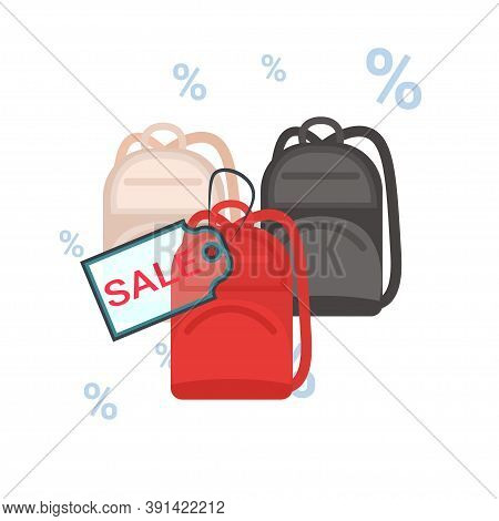 Fashion Women Handbags With Sale Tag Black Friday Discount Concept Vector Illustration