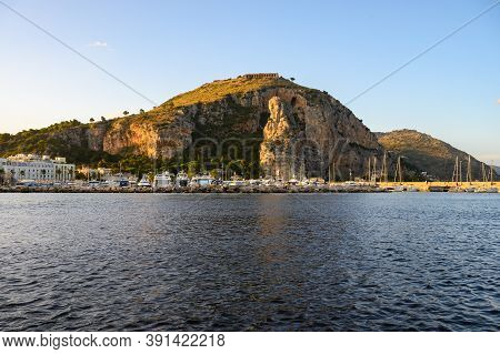 View On Medieval Small Touristic Coastal Town Terracina And Sea Shore, Latina, Italy On Sunset
