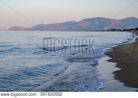 Sandy Beach Of Medieval Small Touristic Coastal Town Sperlonga And Sea Shore, Latina, Italy On Sunri