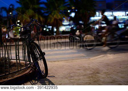Small Touristic Coastal Town Terracina At Night During Summer Vacation Season, Latina, Italy