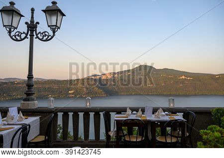 View From Castel Gandolfo, Summer Residence Of The Pope, Located On Alban Hills Near Lake Albano, Ca